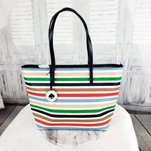 Kate Spade Tanya Multi Stripe Zip Leather Tote Bag